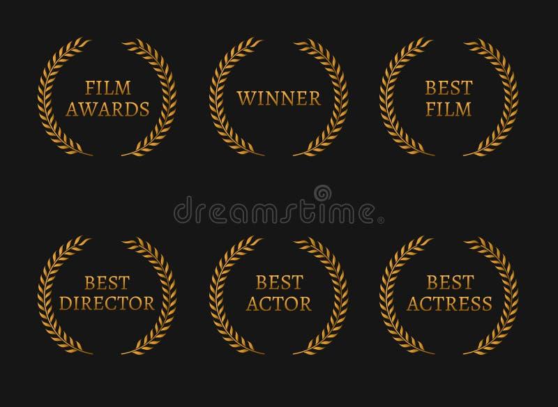 Filmez les gagnants de prix de l'Académie et les meilleures guirlandes d'or de candidat sur le fond noir illustration de vecteur