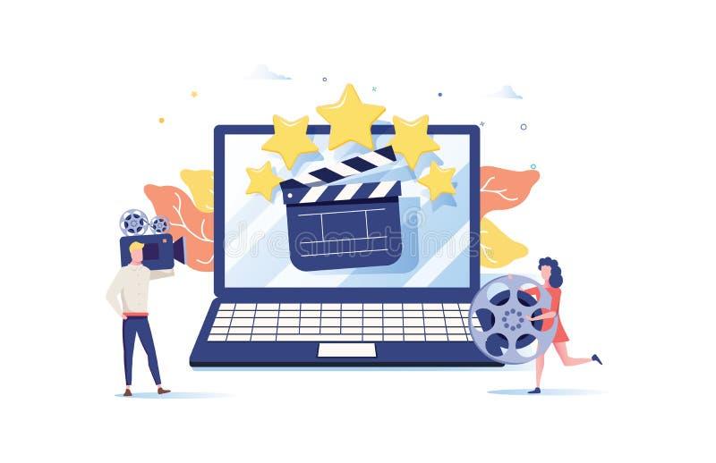 Filmfestival, online-begrepp för biovektorillustration, hållande ögonen på film för folk vid online-tryckning, millenial vlogger stock illustrationer