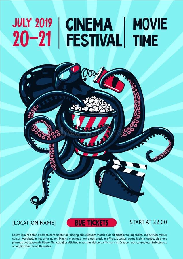 Filmfestivalaffisch med bläckfisken och bioutrustning Mall för filmkonstrengöringsdukbaner den främmande tecknad filmkatten flyr  royaltyfri illustrationer