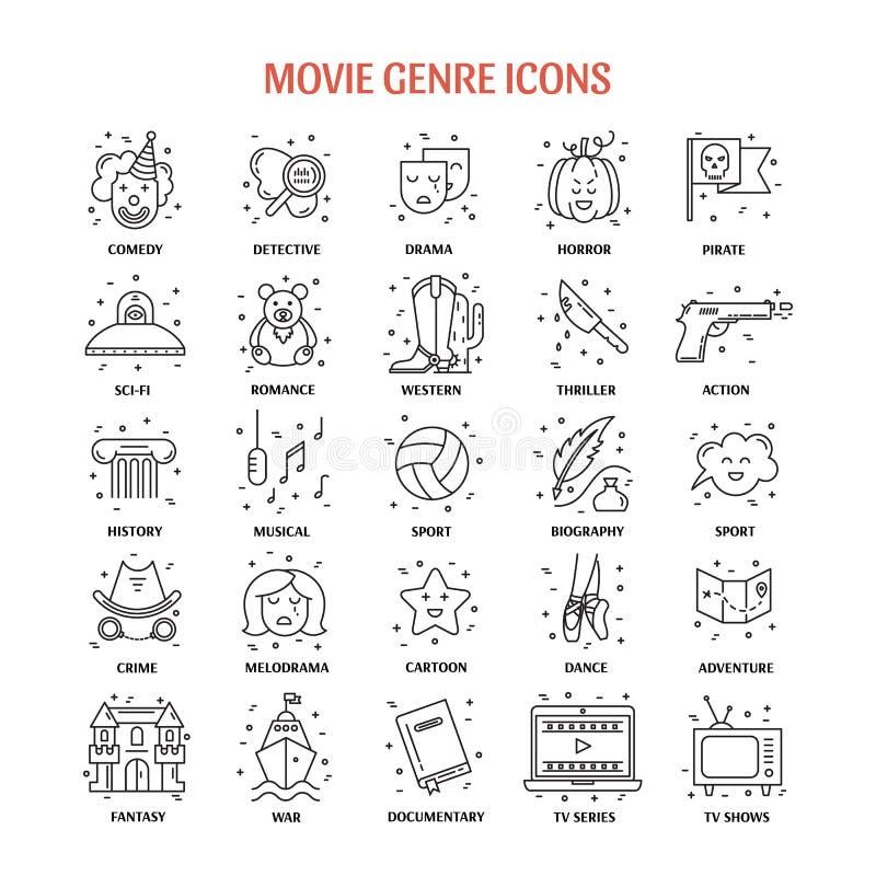 Filmgenre-Ikonensatz lizenzfreie abbildung