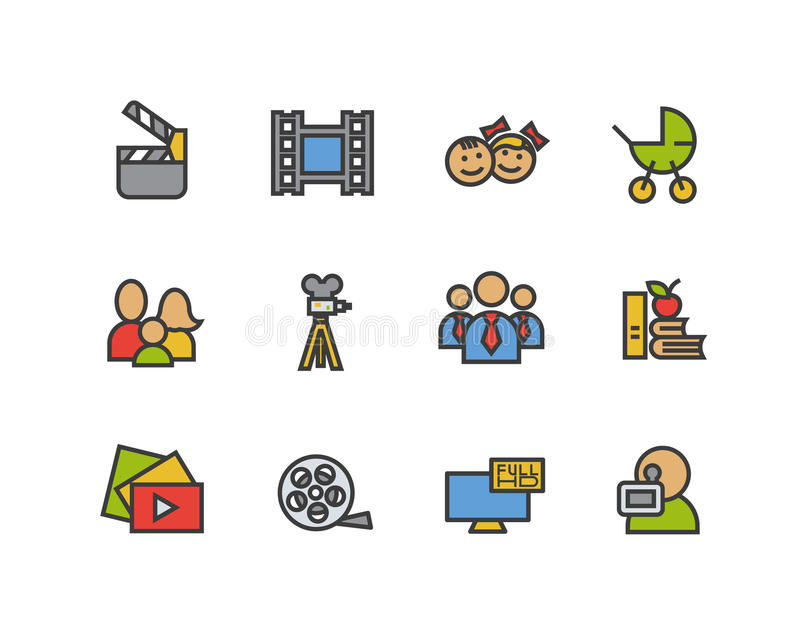Filming color icons set. Movie clapperboard, video film, play button, videographer, children. Logo concepts. Vector. Isolated illustration royalty free illustration