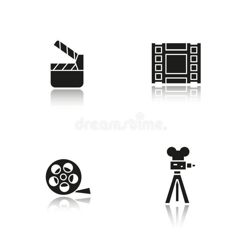 Filming drop shadow black icons set. Film camera, video , reel, movie clapperboard symbol. vector vector illustration