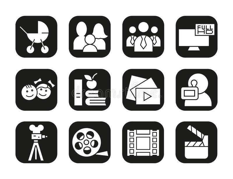 Filming icons set. Movie clapperboard, video film, play button, videographer, children symbol. Vector white silhouettes. Illustrations in black squares royalty free illustration