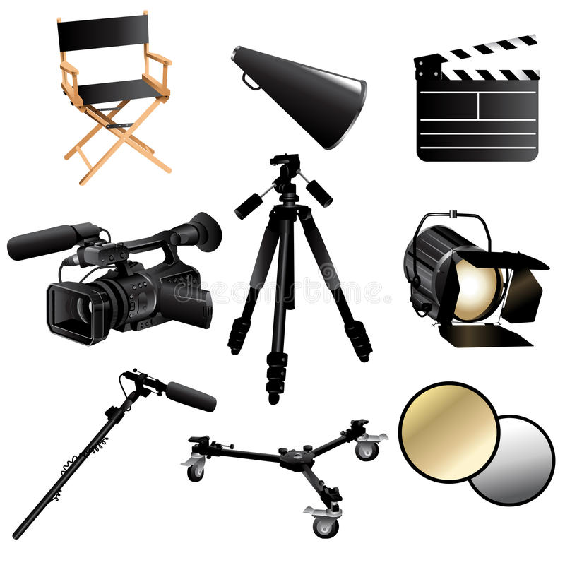 Filming movie icons royalty free illustration