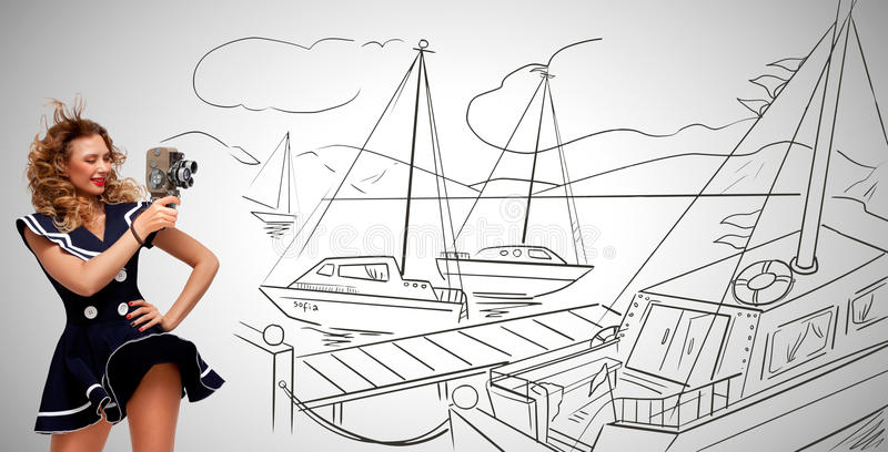 Filming in seaport. stock illustration