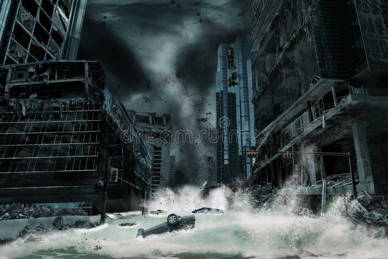 Filmiskt porträtt av en stad som förstörs av orkan arkivbilder