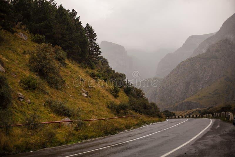 Filmiskt väglandskap Vägthrouth bergen arkivfoto