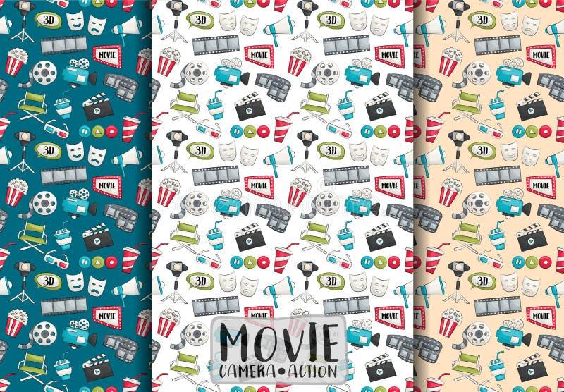 Filmkinodesign Nahtloses Muster-Set Filmthema-Hintergrundpapier lizenzfreie abbildung