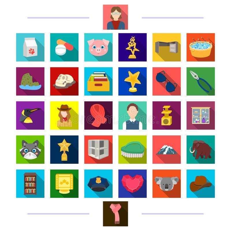 Filmkonst, rekreation, möblemang och annan rengöringsduksymbol i plan stil prestation medicin, djursymboler i uppsättning vektor illustrationer