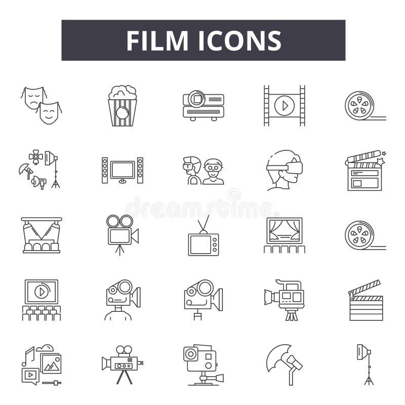 Filmlinje symboler för rengöringsduk och mobil design Redigerbart slaglängdtecken Illustrationer för filmöversiktsbegrepp vektor illustrationer