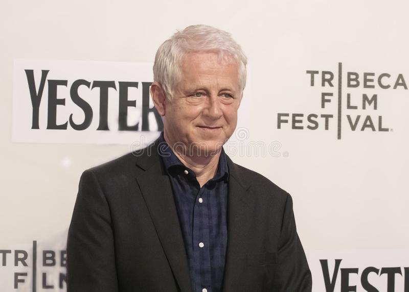 Richard Curtis at World Premiere of `Yesterday` at 2019 Tribeca Film Festival. Filmmaker Richard Curtis arrives at the World Premiere of `Yesterday,`  Closing stock photography