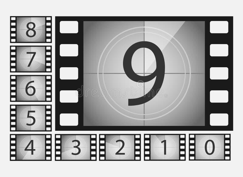 Filmnedräkningen numrerar vektoruppsättningen royaltyfri illustrationer