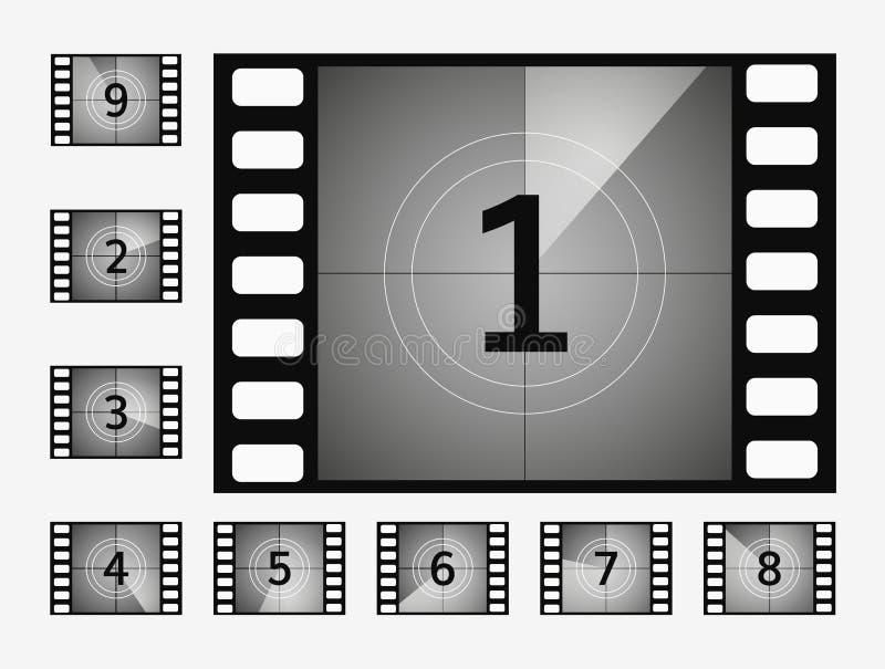 Filmnedräkningen numrerar vektoruppsättningen stock illustrationer