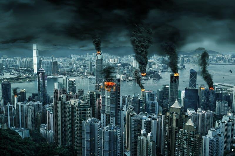 Filmowy przedstawienie Hong Kong miasto w chaosie obraz royalty free