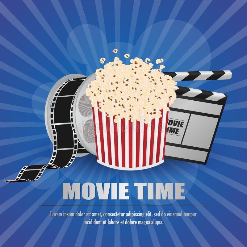 Filmpanelbräda, med filmremsan och popcorn på den gula bakgrundsvektorn royaltyfri illustrationer