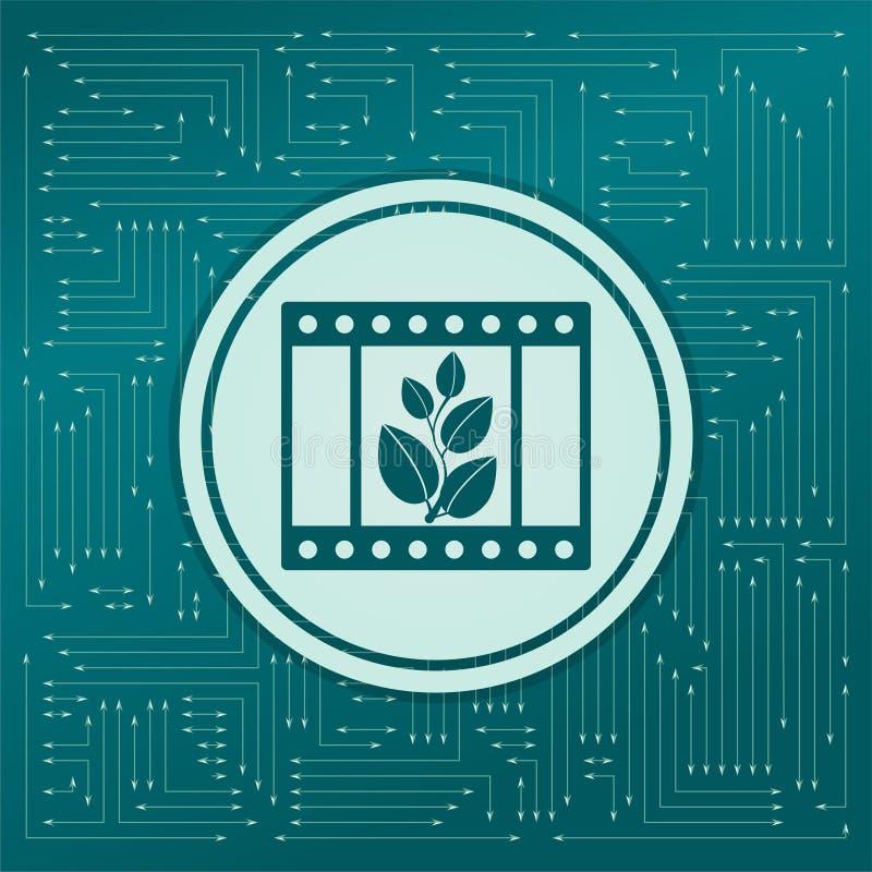 Filmpictogram op een groene achtergrond, met pijlen in verschillende richtingen Het lijkt de elektronische raad stock illustratie