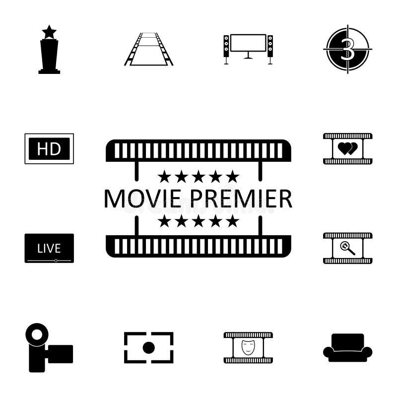 filmpremiärsymbol Detaljerad uppsättning av biosymboler Högvärdig kvalitets- symbol för grafisk design En av samlingssymbolerna f stock illustrationer