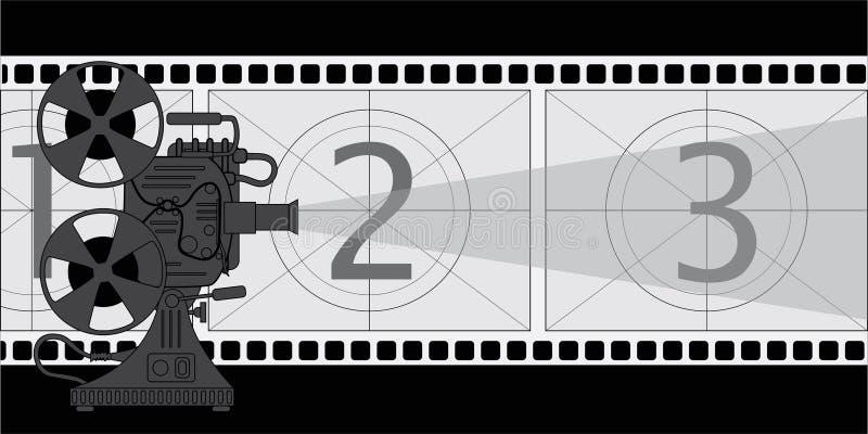 Filmprojector, een affiche op het thema van de film royalty-vrije illustratie