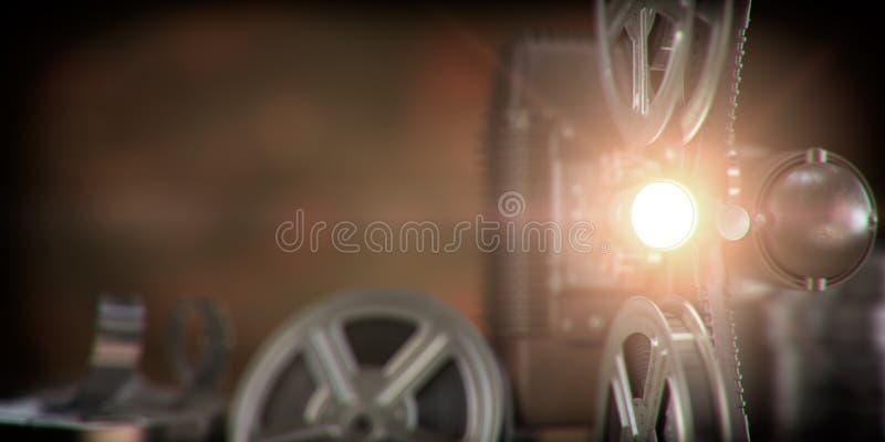 Filmprojektor mit Lichtstrahl und Filmrollen auf dunklem Hintergrund Kino, Film, Retro- Weinlesevideohintergrund vektor abbildung
