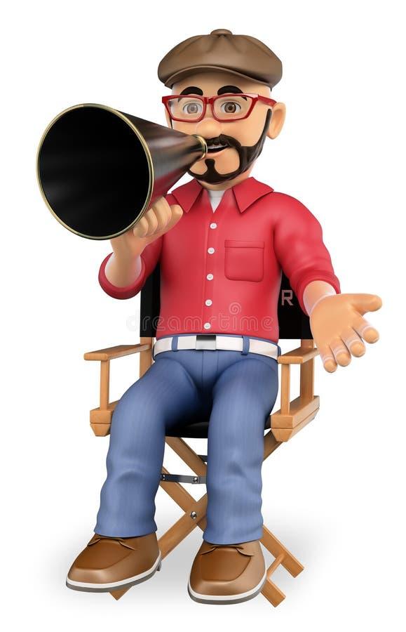Filmregisseur 3D, der in seinem Stuhl mit einem Megaphon sitzt vektor abbildung