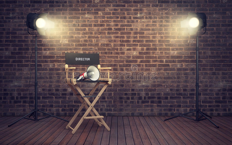 Filmregisseur ` s Stuhl mit Megaphon und Scheinwerfern renderin 3D vektor abbildung