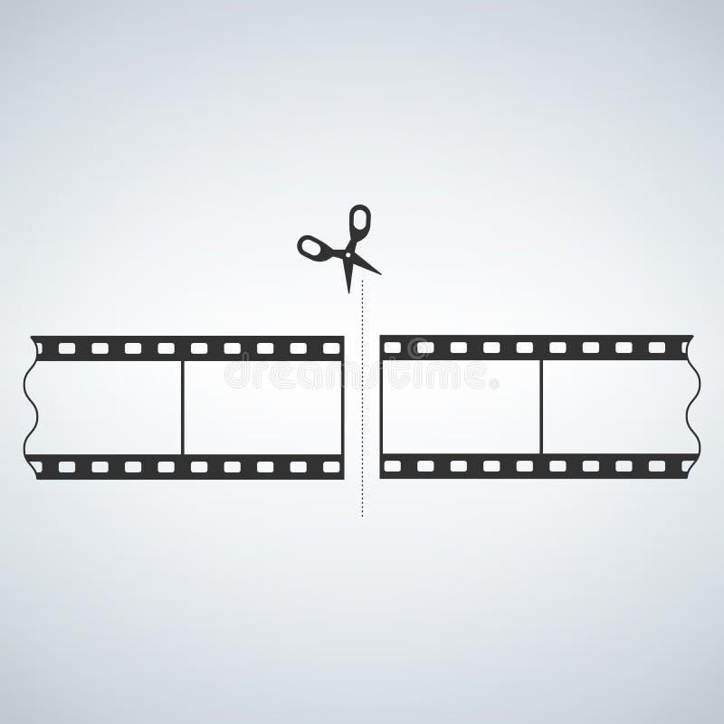 filmremsa för mm som 35 klipps med sax royaltyfri illustrationer