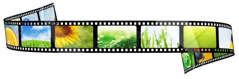 Filmremsa med bilder som isoleras p? vit stock illustrationer