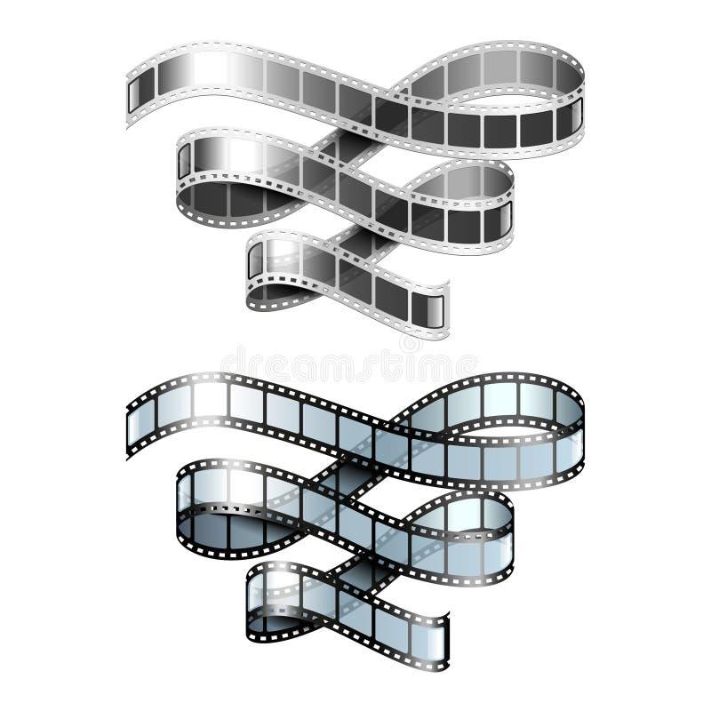 Filmremsa som isoleras på den vita vektorn royaltyfri illustrationer