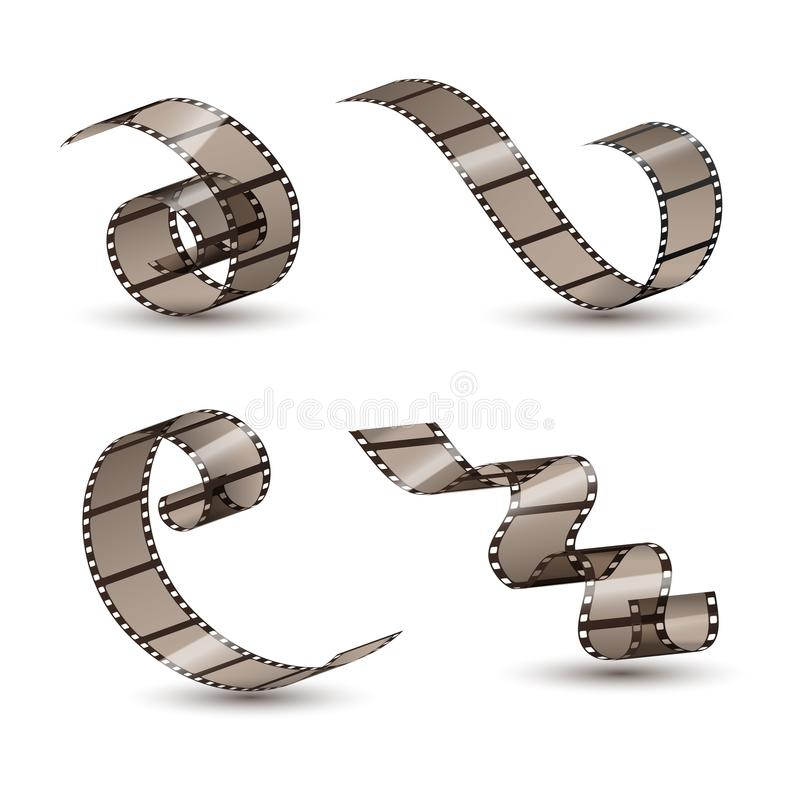Filmremsarulle Fastställd design för bioband Bildbandfilmunderhållning Filmkonstram stock illustrationer