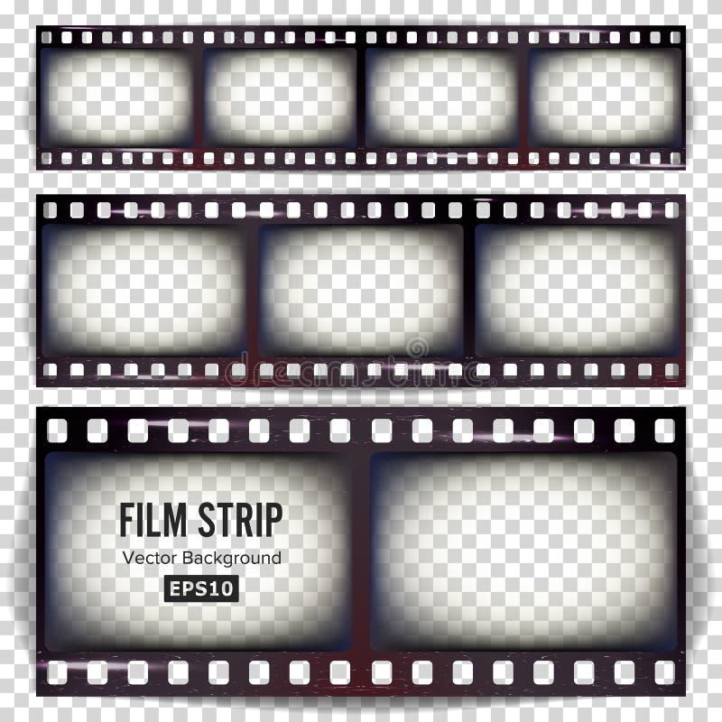 Filmremsavektor Fastställt realistiskt isolerat ramremsamellanrum som skrapas på genomskinlig bakgrund royaltyfri illustrationer