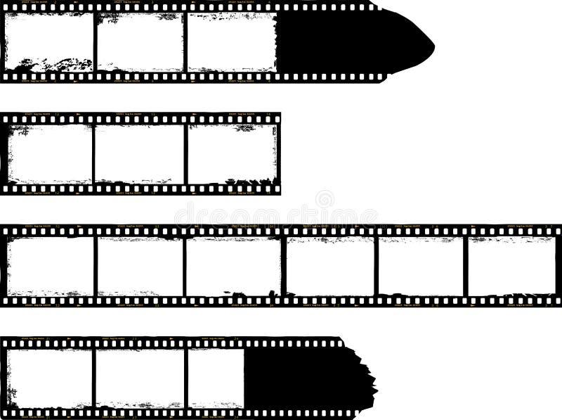 Filmremsor, grungy fotoramar royaltyfri illustrationer
