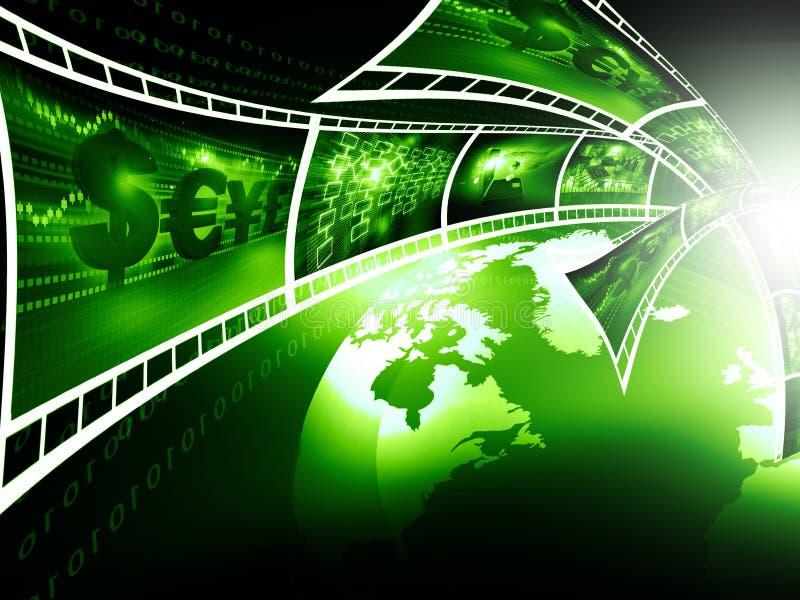 Filmremsor med affärsbilder stock illustrationer
