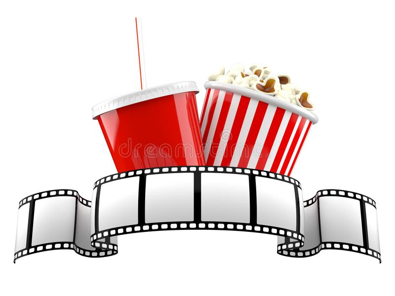 Filmrolle mit Popcorn und Soda vektor abbildung