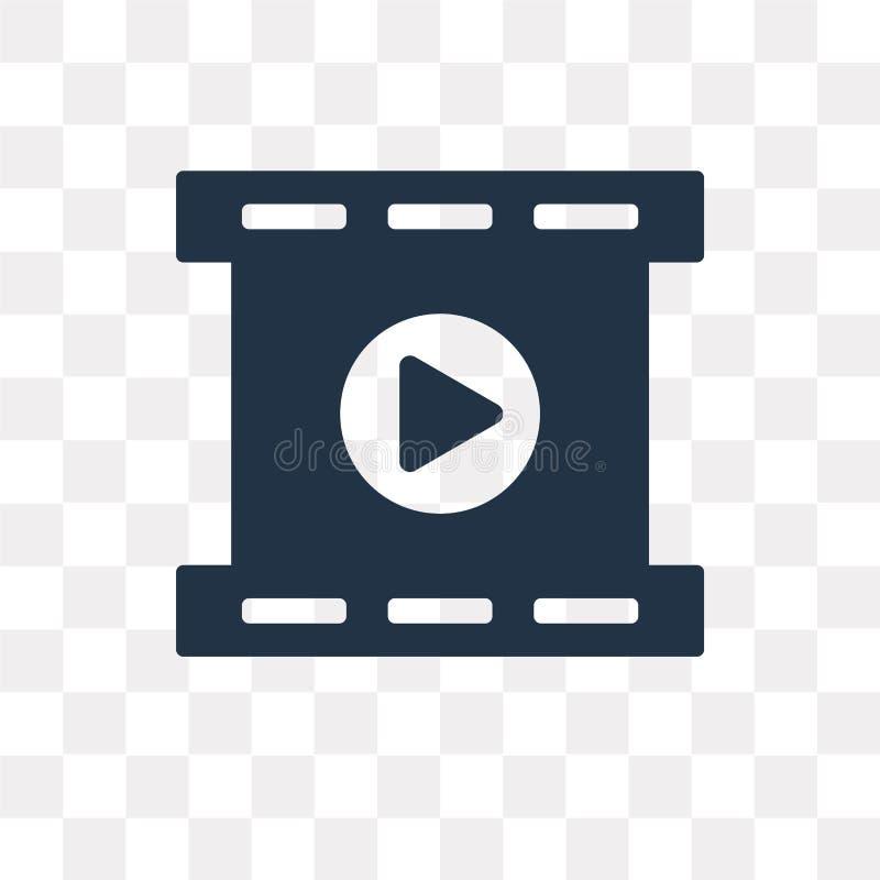 Filmrolle, welche die Vektorikone lokalisiert auf transparentem Hintergrund spielt lizenzfreie abbildung