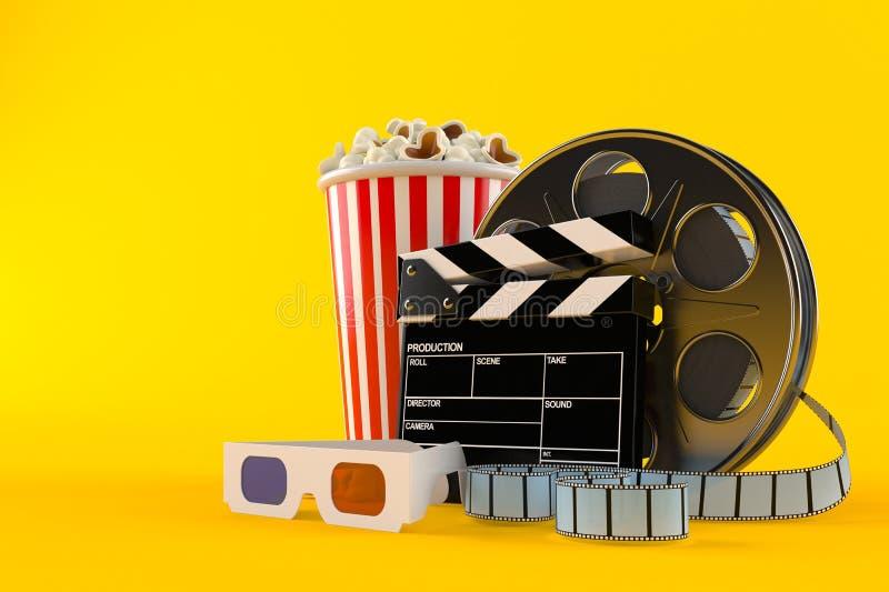 Filmrulle med popcorn och exponeringsglas 3d vektor illustrationer