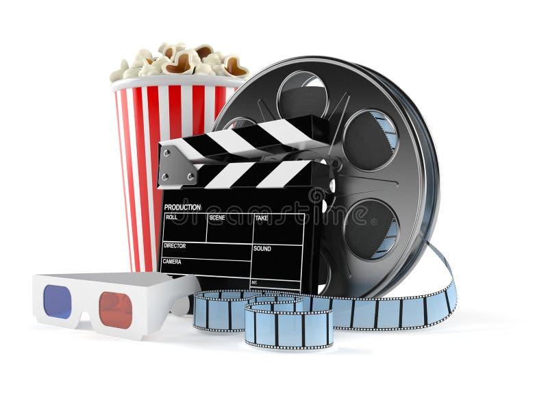 Filmrulle med popcorn och exponeringsglas 3d royaltyfri illustrationer