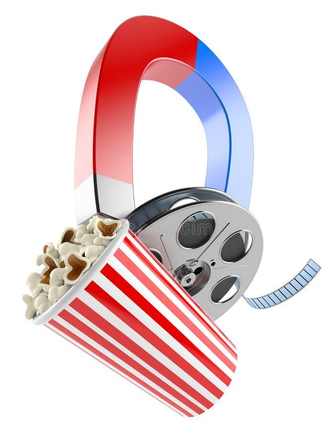 Filmrulle med popcorn och magneten vektor illustrationer