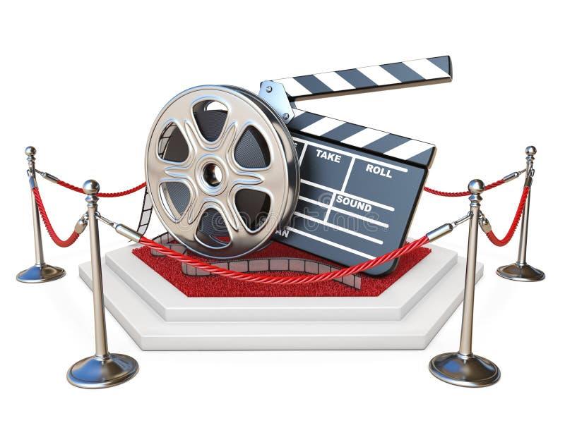 Filmrulle och clapperbräde på podiet med röd matta 3D stock illustrationer