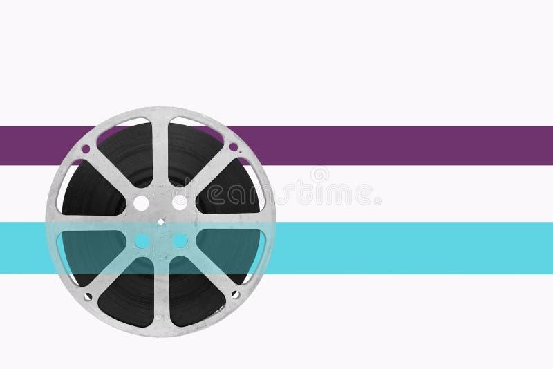 Filmrulle på vit bakgrund med färgbandet royaltyfri bild