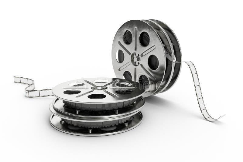 Filmrulle som isoleras på vit bakgrund illustration 3d stock illustrationer