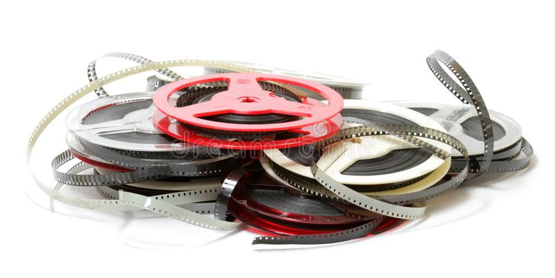 Films. Old 8 mm home films royalty free stock photo