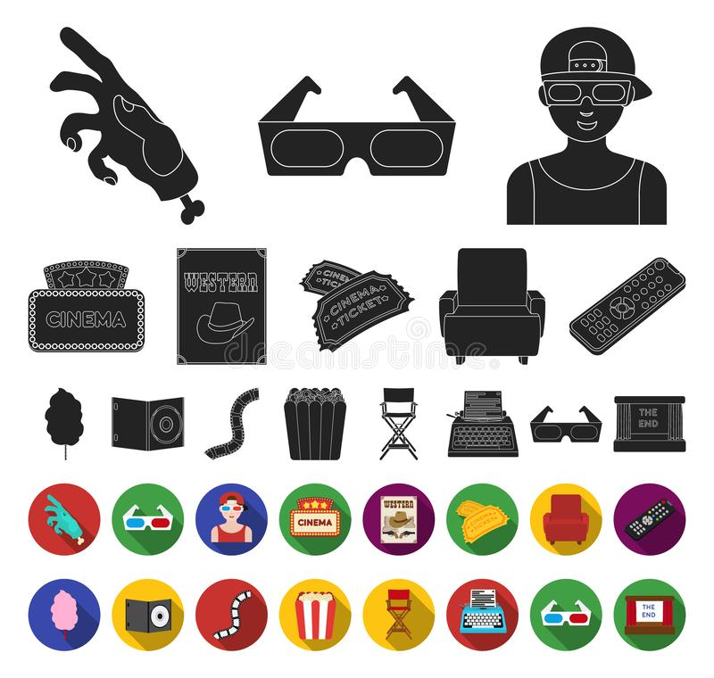 Films and cinema black,flat icons in set collection for design.Movies and Attributes vector symbol stock web stock illustration