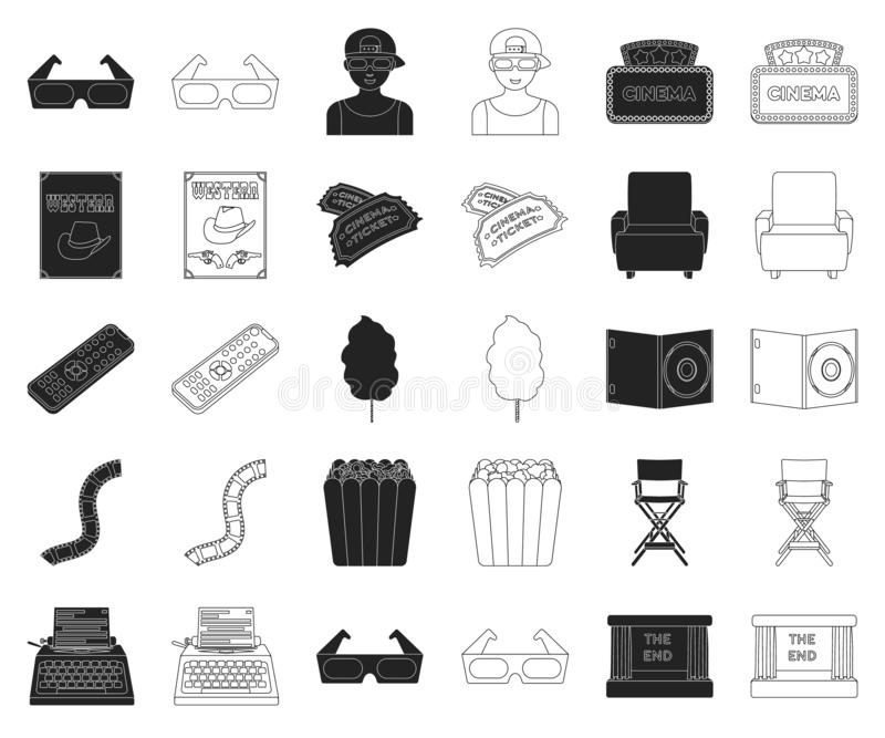 Films and cinema black,outline icons in set collection for design.Movies and Attributes vector symbol stock web vector illustration