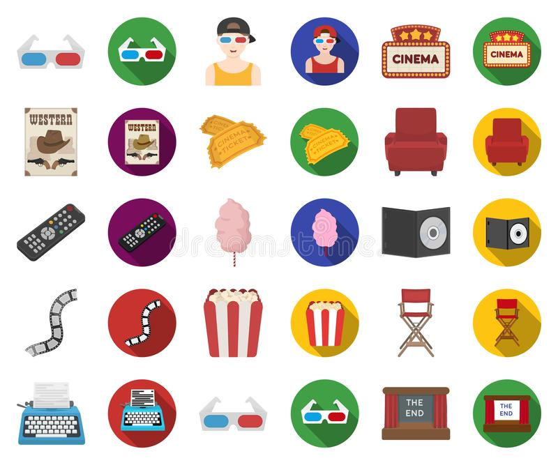 Films and cinema cartoon,flat icons in set collection for design.Movies and Attributes vector symbol stock web royalty free illustration
