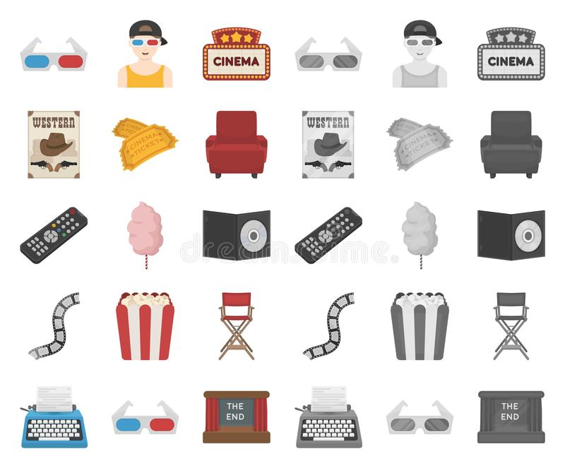 Films and cinema cartoon,mono icons in set collection for design.Movies and Attributes vector symbol stock web vector illustration