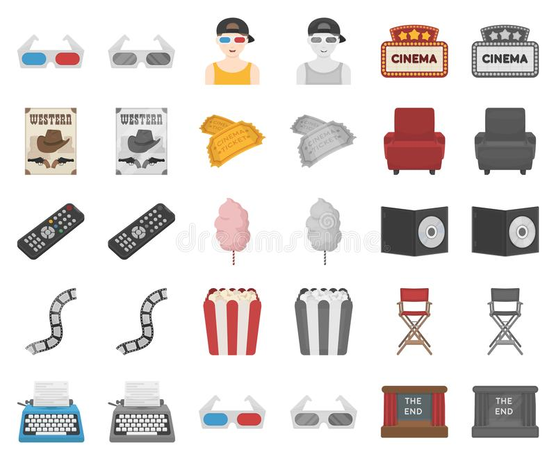 Films and cinema cartoon,monochrom icons in set collection for design.Movies and Attributes vector symbol stock web vector illustration