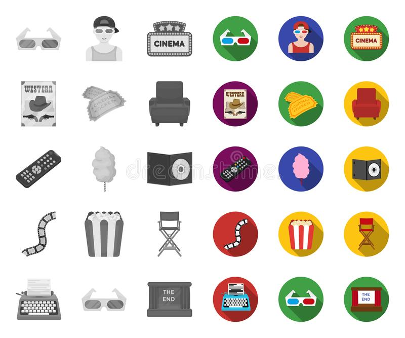 Films and cinema mono,flat icons in set collection for design.Movies and Attributes vector symbol stock web illustration royalty free illustration