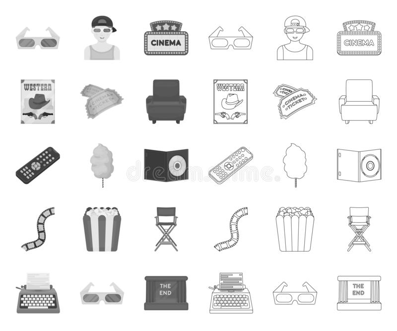 Films and cinema mono,outline icons in set collection for design.Movies and Attributes vector symbol stock web royalty free illustration