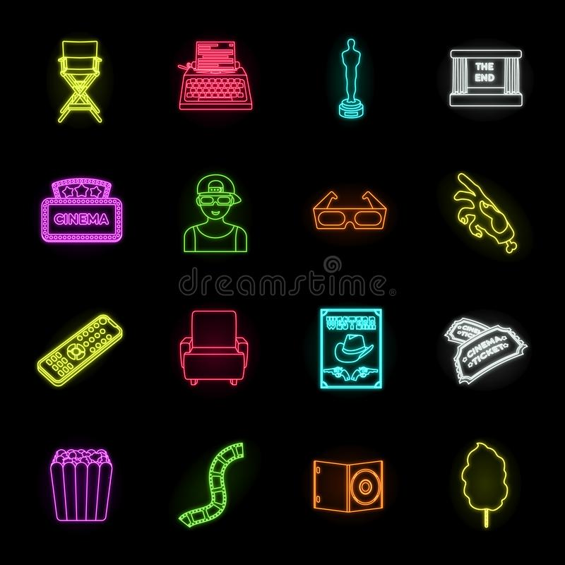 Films and cinema neon icons in set collection for design.Movies and Attributes vector symbol stock web illustration. stock illustration
