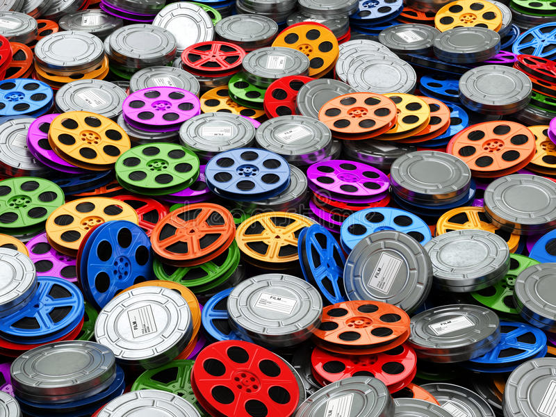 Films collection concept. Cinema, movie, video reels background. royalty free stock photography